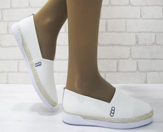 Дамски ежедневни обувки естествена кожа бели ULBP-23542