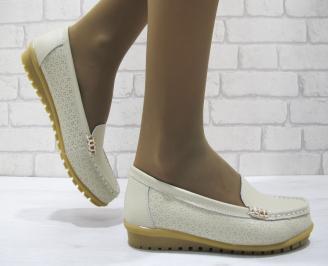 Дамски ежедневни обувки  бежови естествена кожа XBSP-23702