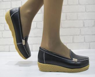 Дамски ежедневни обувки  черни естествена кожа ZPXX-23703