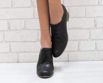Дамски ежедневни обувки естествена кожа черни ZXAG-23728