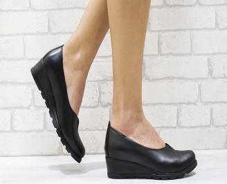 Дамски ежедневни обувки естествена кожа черни YSJH-26238