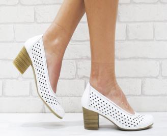 Дамски ежедневни обувки  бели естествена кожа NTRO-26379