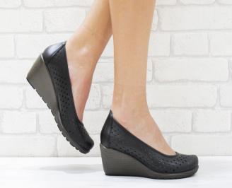 Дамски ежедневни обувки черни естествена кожа SCDN-26385