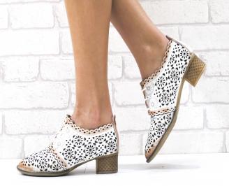 Дамски ежедневни обувки естествена кожа бели YFHA-26482