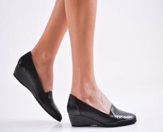 Дамски ежедневни обувки естествена кожа черни ZWLK-26498