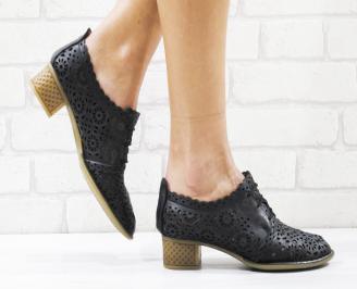 Дамски ежедневни обувки естествена кожа черни NTYT-26554