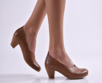 Дамски ежедневни обувки естествена кожа кафяви JZEX-26903