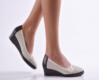 Дамски ежедневни обувки естествена кожа бежови LPHL-26922