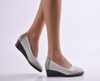 Дамски ежедневни обувки естествена кожа бели CVXH-26924