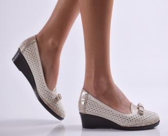 Дамски ежедневни обувки еко кожа бежови PUNV-26926