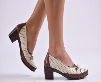 Дамски ежедневни обувки естествена кожа бежови IQVL-26980