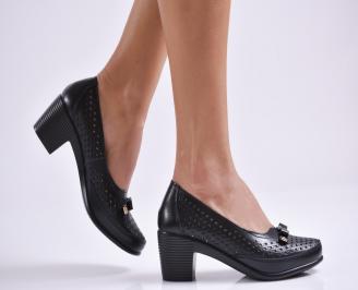 Дамски ежедневни обувки естествена кожа черни VFQX-26984