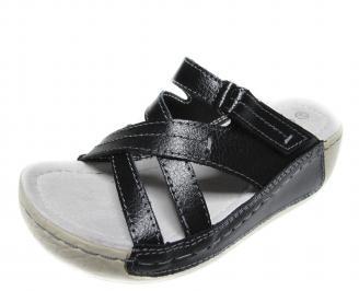 Дамски ежедневни сандали естествена кожа черни GAWJ-20939