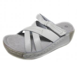 Дамски ежедневни сандали естествена кожа бели ESIV-20946