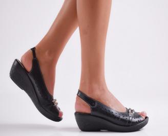 Дамски ежедневни сандали естествена кожа черни VZTZ-23809