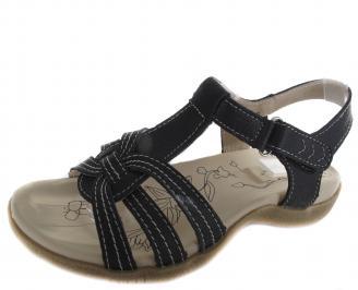 Дамски ежедневни сандали черни естествена кожа YCYP-19256