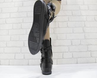 Дамски летни боти черни естествена кожа WUWV-23739