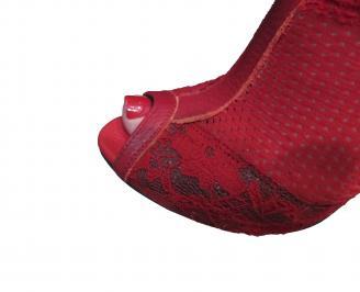 Дамски летни ботуши червени дантела YMRU-18875