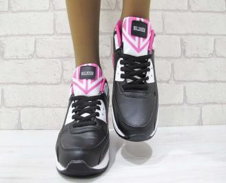 Дамски маратонки Bulldozer еко кожа черни UKNM-23224