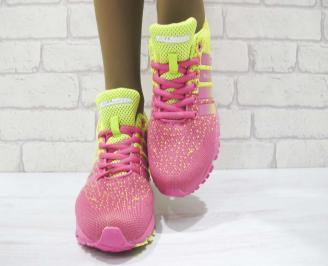 Дамски маратонки  Bulldozer текстил розово/жълти JXZH-23231