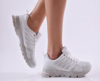 Дамски  маратонки  текстил бели 2