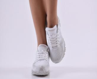 Дамски  маратонки  текстил бели 4