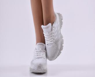 Дамски  маратонки  текстил бели 5