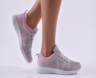 Дамски маратонки  текстил сиво/розови FXIZ-26832