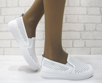 Дамски обувки  бели естествена кожа OQYW-23511