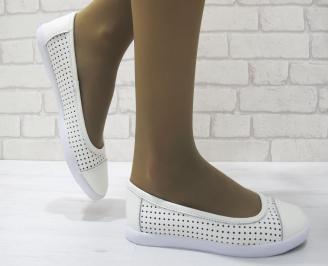 Дамски  обувки  бели естествена кожа TPOC-23522