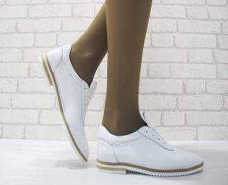 Дамски  обувки  бели естествена кожа MEIV-23688