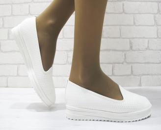 Дамски  обувки  бели естествена кожа LOIH-23693