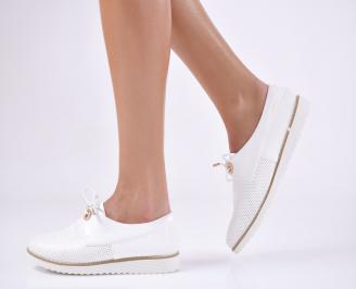 Дамски  обувки  бели естествена кожа LHZC-23695