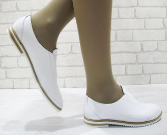 Дамски  обувки  бели естествена кожа KVAN-23794