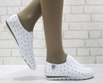 Дамски  обувки  бели естествена кожа MNDI-23797