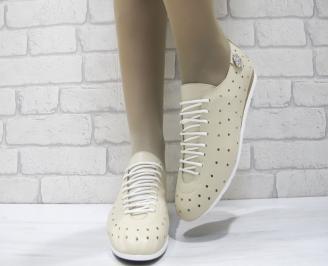 Дамски  обувки  бежови естествена кожа STNR-23804