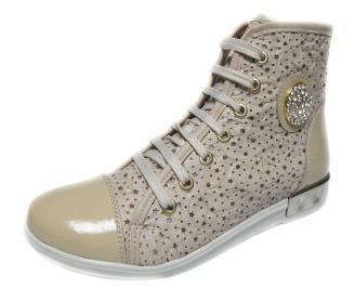 Дамски обувки бежови естествена кожа CJIA-18882