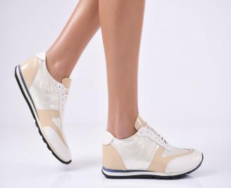 Дамски обувки бежови естествена кожа VDCP-18884