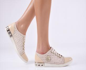 Дамски обувки бежови естествена кожа FZGQ-18894