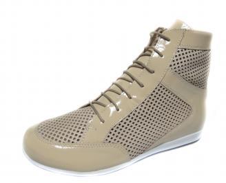 Дамски обувки бежови естествена кожа JKSU-18898