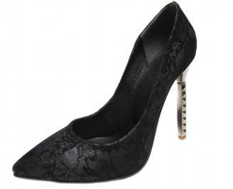 Дамски обувки черни дантела VFOY-18775