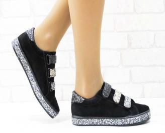 Дамски  обувки  черни еко велур BVZJ-25136