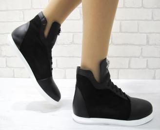 Дамски обувки черни естествена кожа UFNL-22876