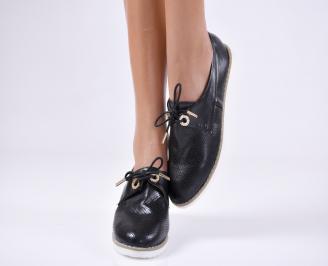 Дамски  обувки черни естествена кожа JXHN-23694