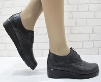 Дамски обувки черни естествена кожа TEPK-23730