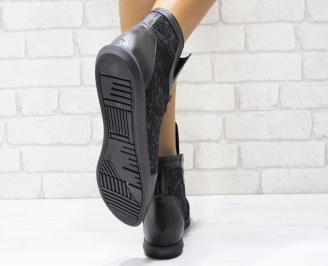 Дамски обувки черни естествена кожа DUST-25016