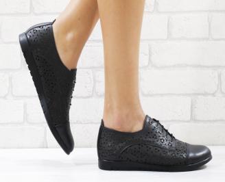 Дамски обувки черни естествена кожа EYZV-26552