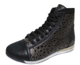 Дамски обувки черни естествена кожа PFQF-18899