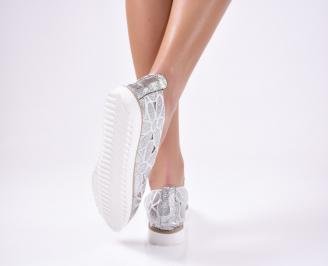 Дамски  обувки еко кожа сребристи TRBY-1012118