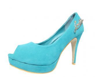 Дамски обувки еко кожа/велур сини AUFP-13047